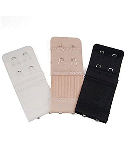 Hosaire Lot de 3 Extensions de soutien-gorge Noir+Beige+Blanc 2 crochets
