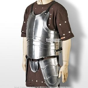 Large Medieval 20G Steel Breast Plate Body Armor w/ Tassets Fluted Cuirass LARP by Medieval Gears