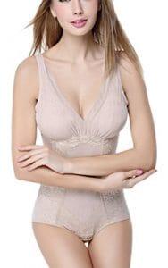 Femme Shapewear Minceur Lingerie Sculptante Amincissante Body Gaine à Bretelle Abricot Taille 40-42