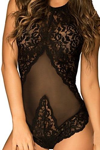 HO-Ersoka Body dos nu de tulle et dentelles avec attaches style lacets dans le dos, noir XS-M
