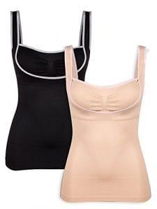 Intimate Portal femme Camisole de Façonnage Sans Couture Extra Ferme avec Soutien-gorge Intégré (Pack de 2), Noir/Beige – L