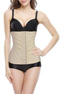 4How® Femme Corset Bustier Taille serrée amincissant minceur, Beige, Taille FR 36