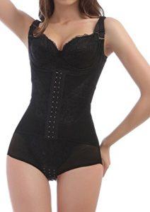 4How® Femme Combinaison Minceur Body Shapewear Camisole Gaine Amincissante, Noir, Taille M