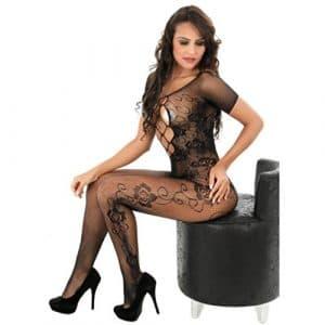 Sexy Dentelle Lingerie, Amlaiworld Fourche ouverte Bas de corps Perspective Sous-vêtements imprimés Pyjama résille (Taille libre, Noir)