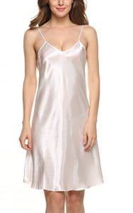 Avidlove Robes de nuit femmes Chemises de nuit en satin nuisette confortable et élégante Taille 34-50(S-XXL), Blanc, XXL UK XL
