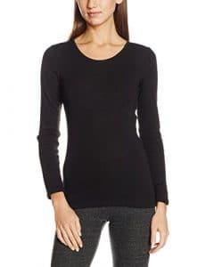 Damart Fine Cote Thermolactyl Degré 3, Haut Thermique Femme, Noir (Noir), 50 (Taille Fabricant: XL)