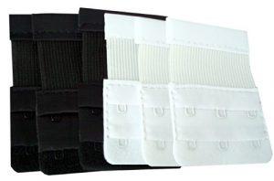 Great Ideas Lot de 6 extensions de soutien-gorge 3 crochets Noir/blanc Ne jetez pas ce soutien-gorge trop serré !
