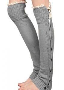 Aidonger Femme Guêtre Jambières tricotés pour Automne et Hiver (gris clair)