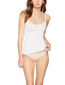 Iris & Lilly Débardeur Synthétique Bordures en Dentelle Femme, Lot de 2, Blanc (White), 10 (Taille fabricant: Large)