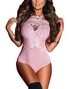 MAX MALL Femmes Dentelle Bodys Tops Combinaison Dos Nu Bodysuit Jumpsuit (S, Rose)