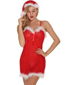 Mère Noel Femme, Noel Deguisement, Aibrou Ensemble de Lingerie tenue de Noël pour femme Nuisette Vêtements de nuit rouge Robe de nuit Mini avec chapeau de Père Noël (Medium, Rouge)