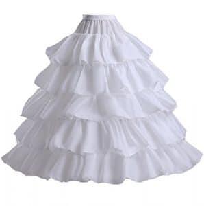 Edith qi Jupon de Robe de cérémonie pour Femmes Crinoline Petticoat,Jupons 3/4/6 anneau pour la robe de mariée de mariage,Jupon de jupon réglable Crinoline,Taille unique,S-XXL
