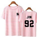 JHion KPOP BTS le M¨ºme Paragraphe Ray¨¦ T-Shirt, les Femmes d'¨¦t¨¦ Manches Courtes Wings Rose Jin OneSize