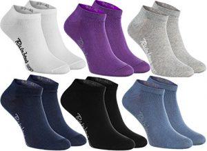 6 paires de chaussettes courtes en couleur blanc, violet, gris, bleu marine, noir, bleu de jeans, le coton de haute qualité certifié avec Oeko-Tex, les tailles 39 40 41