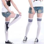 Westeng 1 paire Chaussettes de tube en Coton Simple Rayures noires et blanches Socquettes de sport Élasticité chaussettes de genou pour Femmes Hommes