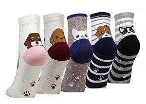 LHZY Womens Filles Chaussettes 5 Pack, conception drôle de chien de nouveauté, mélange de coton Crew Over Ankle
