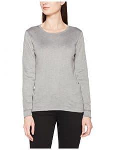 Damart Shirt Manches Longues Thermolactyl Double Chaleur, Haut Thermique Femme, Gris (Gris Chiné), 38 (Taille Fabricant: S)