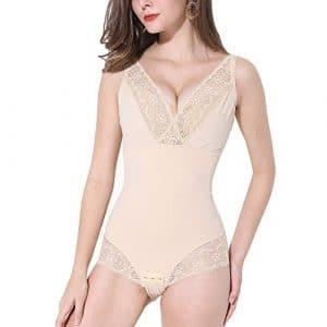 PAUKEE Femme Gaine Amincissante Body Sculptant Gainant Ventre Plat Invisible Lingerie Gainante Combinaisons Sculptantes Body Shaper(XL,Beige)