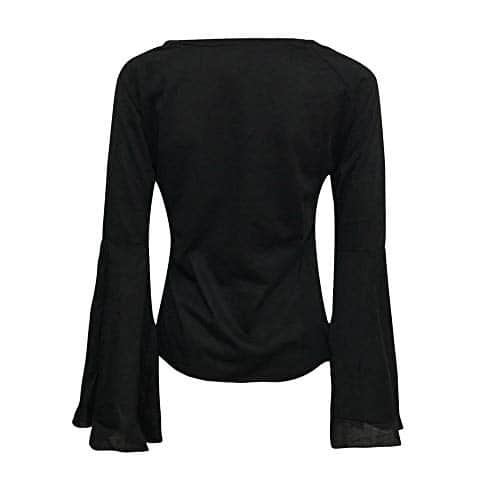 Peibo Hiver Femme Col V Solide Loisirs Chemises Mince Chic Élégant Trompette Manches Longues Décontracté Tunique Blouse Sexy Slim Crop Couleur Unie Mode Sweat Doux Soirée Tops Noir Blanc