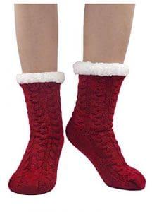PUTUO Chaussettes Chaussons Femme Hiver Chaud Antidérapantes Thermique Pantoufles Chaussettes, Femme Noël Épais Chaussettes à la Maison