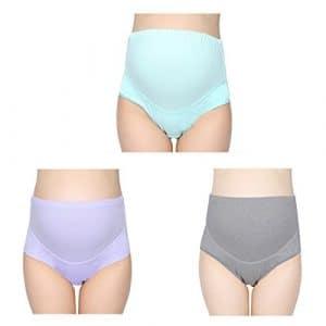 Culotte Enceintes D'allaitement en Coton Pure 3 Pcs Slips Femme de Grossesse Taille Haute Elastique Soutien le Ventre