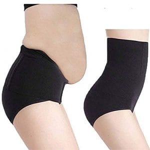 Qiopes Motif texturé de Femmes Amincissant Le Bas de Forme de Ventre de Compression de Taille élevée Bottom (Noir)