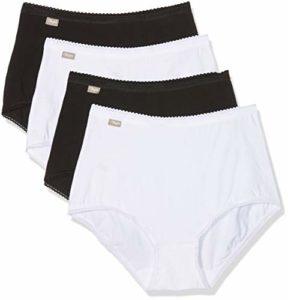 Playtex Coton Stretch Culotte Maxi Taille Haute Femme, Multicolore (Blanc/Noir 04x), 48 ,Lot de 4