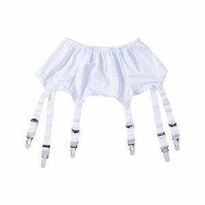 Frecoccialo Femmes Sexy Perspective 6 Bretelles Porte-Jarretelles Dentelle Ceinture pour Bas Cuisse Lingerie Vêtements de Nuit(ModèleB Blanc,L )