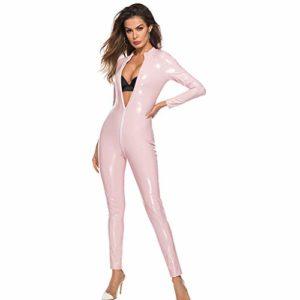 KEERADS Body en Cuir Siamois Sexy Lingerie Femmes Lingerie Profond V Plus Taille Sexy Vêtements De Nuit M-4XL(XXXX-Large,Rose)