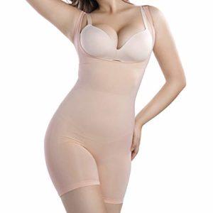 +MD Femme Gaine Amincissante Body Ventre Plat Lingerie Gainante Minceur Combinaisons Sculptantes Shapewear NudeM