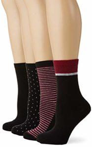 Dim MI-CHAUSSETTE ECODIM STYLE X4 Chaussettes Femme NA Multicolore (Noir/Bordeaux 8qp) Taille unique (Taille fabricant:TU) 4lot de4