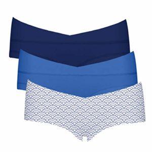 Intimate Portal Femme Petite Culottes Berceau de Maternité et Grossesse Boxer Shorties sous-vêtements en Coton 3 Lot Bleu Bleu Vagues M