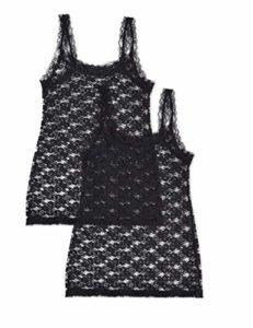 Iris & Lilly Soft Lace Maillot De Corps, Noir (Black), X-Small, Lot de 2